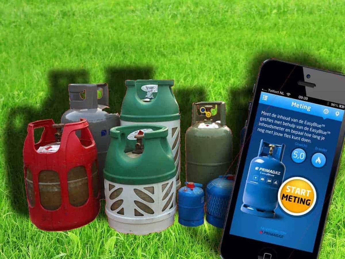 Gasfles leeg? Check het met de app, meter of wegen!