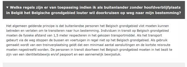 belgische overheid doorreis