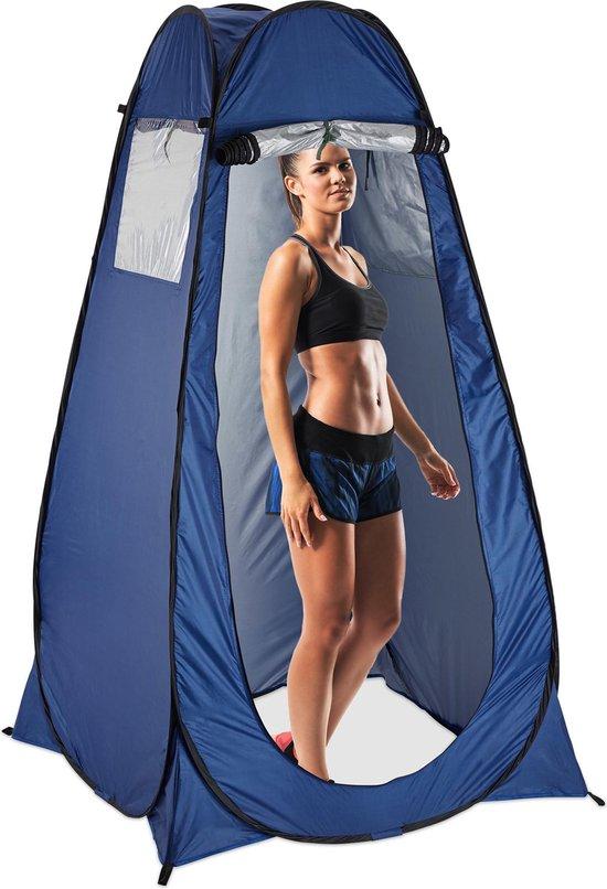 relaxdays pop-up tent - omkleedtent - douchetent - wc-tent - kleedkamer blauw 190x120x120