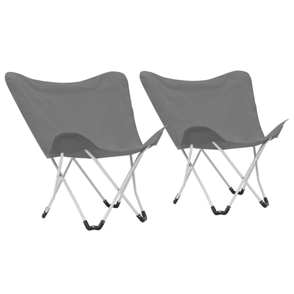 vidaXL Vlinderstoelen inklapbaar grijs 2 st