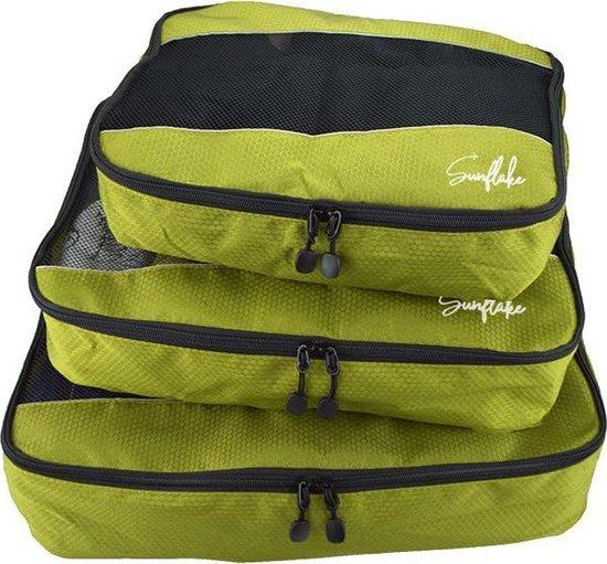 Packing Cubes Set - 3 Stuks - Koffer Organiser Voor Backpack & Koffer & Handbagage - Bagage Organizer - Travel - Legergroen