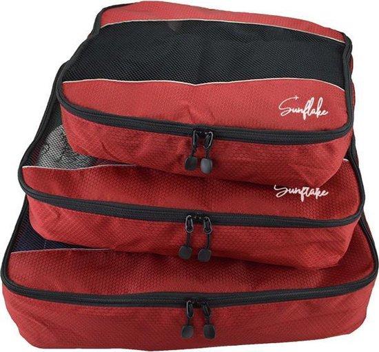 Packing Cubes Set - 3 Stuks - Koffer Organiser Voor Backpack & Koffer & Handbagage - Bagage Organizer - Travel - Rood
