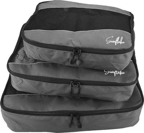 Packing Cubes Set - 3 Stuks - Koffer Organiser Voor Backpack & Koffer & Handbagage - Bagage Organizer -Travel - Grijs
