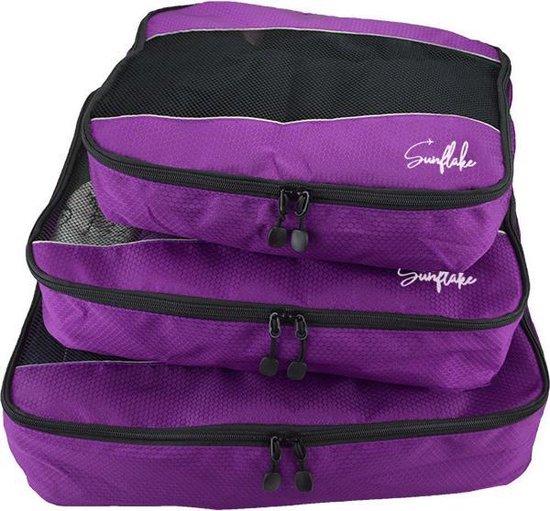 Packing Cubes Set - 3 Stuks - Koffer Organiser Voor Backpack & Koffer & Handbagage - Bagage Organizer -Travel - Paars