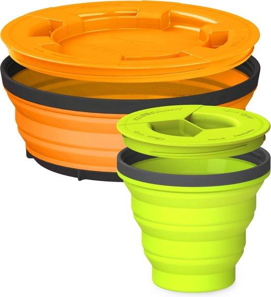 Sea to Summit X-Seal & Go Set - Campingservies inklapbaar - Beker + schaal - Small - Lime/Oranje