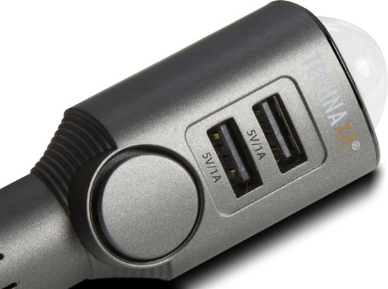 Technaxx TX-100 12V/24V Autoalarm 110 dB met laadfunctie, bewegingssensor, afstandsbediening, ingebouwde accu zwart